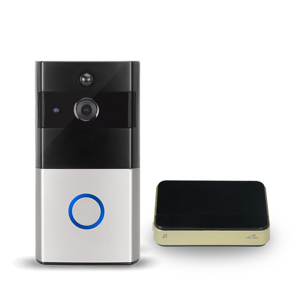 Ocamo Practical Wireless Wi-Fi Ring Doorbell with Visual Intercom Low Power Consumption Home Security Monitor with Reminding Device (Silver Gray)