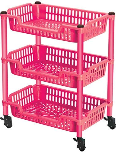 Ultra Zon Virgin Plastic Trolley-3-Rack & Plastic Pipe Trolley 3 Racks Tray