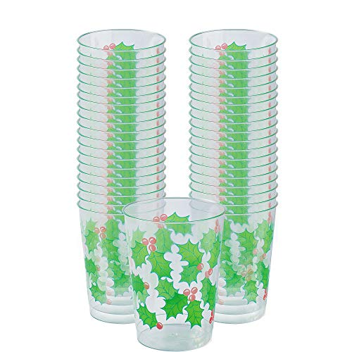 Holly Christmas Plastic Tumblers, 10 Oz., 40 Ct.
