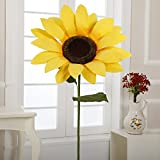 S-774 20'' Paper Sunflower with Stem(Yellow, 6pcs)
