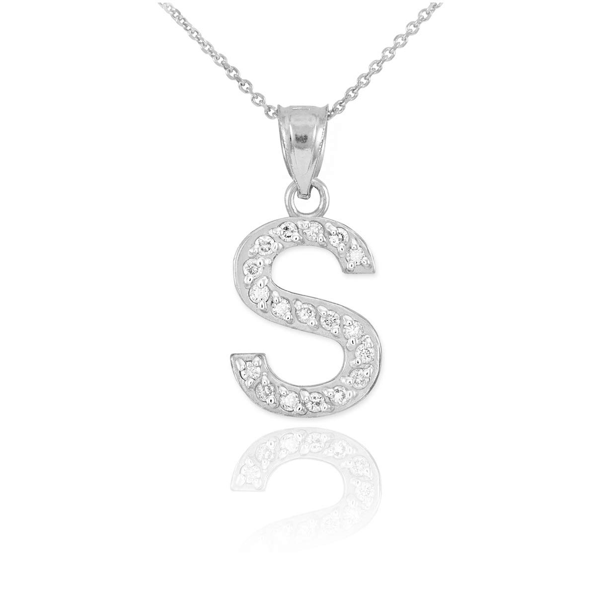 Fine 925 Sterling Silver CZ-Studded Initial LetterA-Z Pendant Necklace