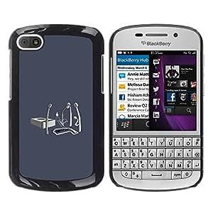 BlackBerry Q10 - Metal de aluminio y de plástico duro Caja del teléfono - Negro - Matchstick Funeral - Funny