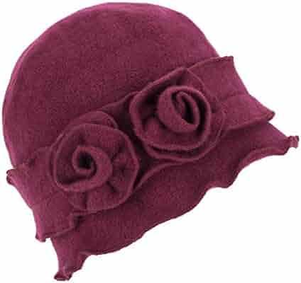 Womens Gatsby 1920s Winter Wool Cap Beret Beanie Crochet Bucket Flower Hat  A285 48c0ae18d591