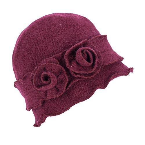 Womens Gatsby 1920s Winter Wool Cap Beret Beanie Crochet Bucket Flower Hat A285 (Wine) (20s Womens Hats)