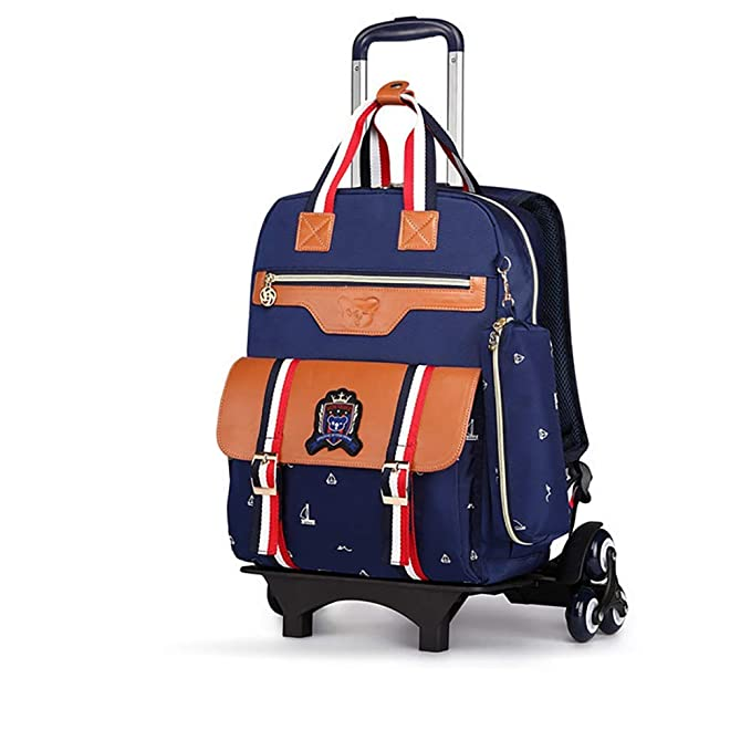 Amazon.com: Boy Girl Wheeled Backpacks School Travel Removable Waterproof Rolling Backpack Primary Students 7-12 Years Old 35L,B: Home & Kitchen