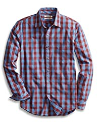 An Amazon brand - This work-or-weekend perfect casual button-front shirt in gingham plaid is made in our Signature Tumbled Cotton for a soft, yet sturdy, hand. We utilize a unique Heritage Wash to give our garments a custom, lived-in feel rig...