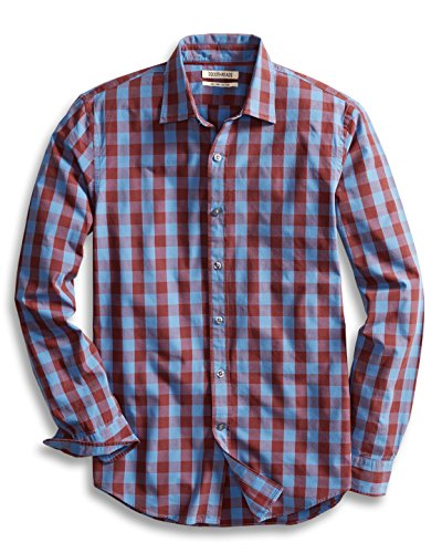 Goodthreads Men's Slim-Fit Long-Sleeve Gingham Plaid Poplin Shirt, Blue/Burgundy, Large