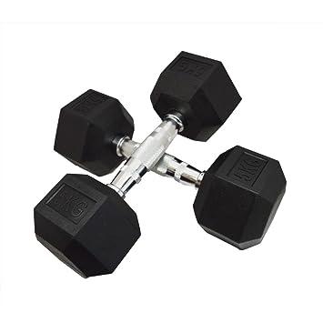 FH negro hierro fundido con recubrimiento de caucho Hexa mancuernas gimnasio hexabell 10 kg x 2: Amazon.es: Deportes y aire libre