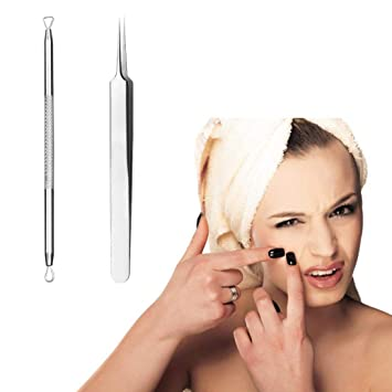 2 Pcs Professional Facial Treatment Pimple Blemish Comedone Acne Extractor Remover Tool Set (Silver)
