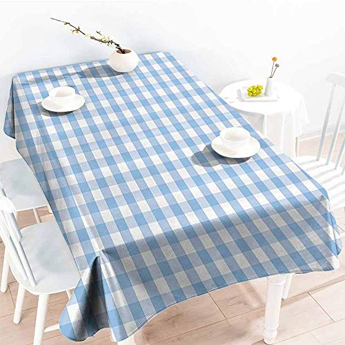Homrkey Elegance Engineered Tablecloth Checkered Little Squares and Stripes Pastel Color Gingham Repeating Rows Vintage Tile Light Blue White Picnic W52 xL70