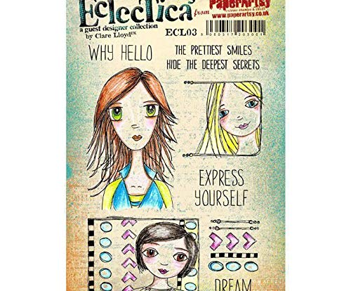 Faces Girls and Inscriptions 1 - Rubber Cling Stamps (8ks), Paperart, Scrapbooking Paper