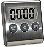 Elegant Digital Personal Kitchen Timer, Stainless Steel Model eT-78, Displays 0-99 Min. or 0-99 Hr, SUPER Strong Magnetic Back, Softer Mellow Personal Alarm Tone, Auto Shut Off, Auto Memory