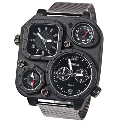 Oulm Ori-0638 Men¡®s Watch with Double Movt Compass Thermometer Black Square Dial Steel Band Black Case