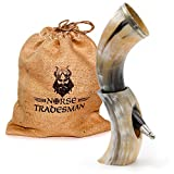 """Norse Tradesman Genuine 12"""" Ox-Horn Viking Drinking Horn w/Horn Stand & Brass Adornments 