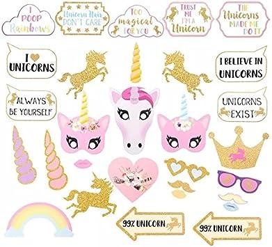thematys® Cumpleaños de niña Unicornio Decoración Cuadro de Foto Prop - Photo Booth Accesorios - Imágenes Divertidas y memorables - 30 Piezas