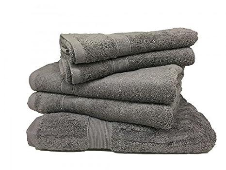 Lote de 5 toallas esponja 600 G/m² 100% algodón - antracita: Amazon.es: Hogar
