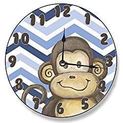 Stupell Home Décor Lil' Buddy Monkey Blue Chevron Clock, 12 x 0.4 x 12, Proudly Made in USA