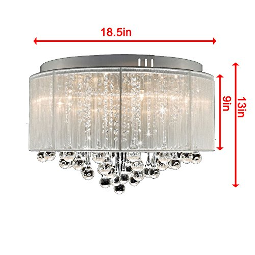 DINGGU™ Flush Mounted Luxury Contemporary Drum Ceiling Chandelier Light Fixtures with Cylinder Lamp Shade for Bedroom by DINGGU (Image #7)