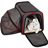 Petsfit Expandable Travel Dog Carrier with Fleece Mat, Most Airline Approved Pet Carrier for Easy Carry on Luggage, Soft Sided Flodable Cat Carrier with Pockets to Store Goods
