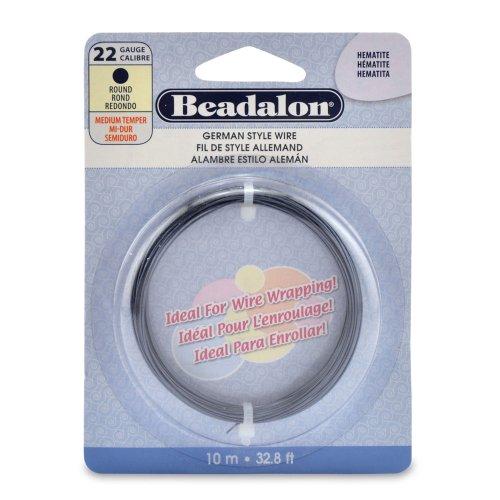 Beadalon 22 Gauge Round Wire, Hematite, 10-Meter
