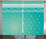 Ambesonne Teal Decor Collection, Indian Sari Pattern Asian Traditional Clothing Fabric Design Style Classic Illustration, Living Room Bedroom Curtain 2 Panels Set, 108 X 90 Inches, Teal Green