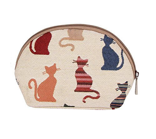 Cheeky Cat (Signare Fashion Canvas/Tapestry Cosmetic Bag/Make-up Bag Cheeky Cat Design)