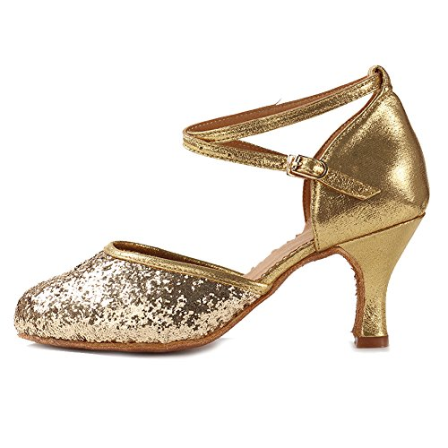 DWX Standard Brightgold Salsa Ladies Dance Model Shoes Dance Tango SWDZM 7 Ballroom Latin Shoes Modern Shoes 5xOwCHqYZ