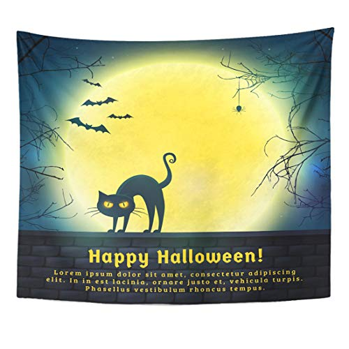 Emvency Tapestry Happy Halloween with Full Moon and Evil Cat Spooky Night Copy Space for Greetings Promo Text Home Decor Wall Hanging for Living Room Bedroom Dorm 50x60 Inches]()
