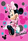 Disney Minnie Mouse Hearts and Dots Pink Clubhouse Soft Plush Oversized Twin Size Throw Blanket Sitting Pretty