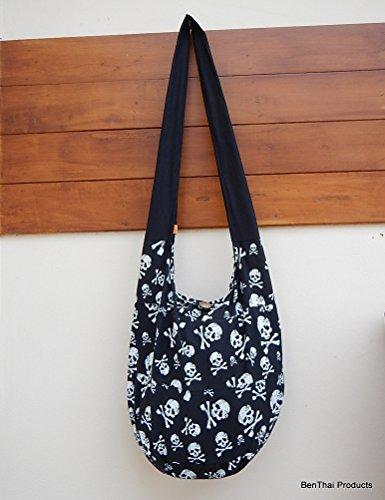 Skull Hobo Black Hippie Purse Bag BTP Messenger SK7 Punk Patchwork Cotton Rock Thai Sling Crossbody CRICwdq