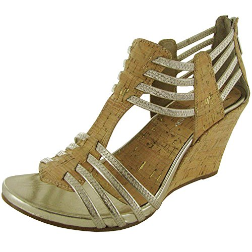 Donald J. Pliner Womens 'GinnieCDSO' Wedge Sandal, Platino-Natural, US 11