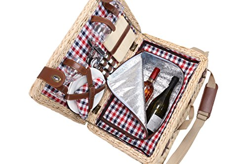 Primeware Picasso Deluxe 2 Person Bulrush Picnic Basket English Style Hamper with Cutlery, Plates, Insulated Cooler, Glasses, Tableware & Fleece Blanket For Sale