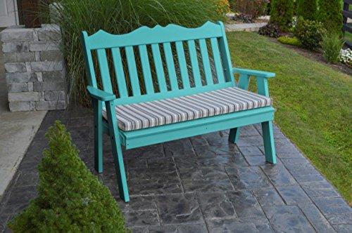 (Furniture Barn USA Outdoor Poly 4 Foot Royal English Garden Bench - Aruba Blue)