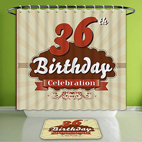 Waterproof Shower Curtain and Bath Rug Set 36Th Birthday Decorations Birthday Celebration Invite Chocolate Wrap Like Image Cinnamon and Br Bath Curtain and Doormat Suit for Bathroom 72