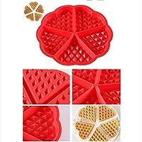 BAKER DEPOT Kitchen Baking Set Silicone Waffle Mold Cake Mold Square Shape Heart Shape Set of 2 Red