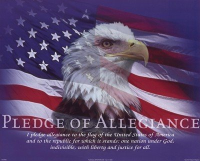 (16x20) Bob Downs Pledge of Allegiance American Flag and Bald Eagle Art Print Poster