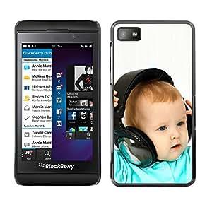 Blackberry Z10 , Radio-Star - Cáscara Funda Case Caso De Plástico (Baby & Headphones)