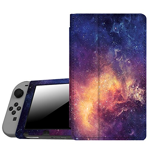 Fintie Protective Case for Nintendo Switch - Premium PU Leather Slim Fit Play Stand Cover for Nintendo Switch 2017, Galaxy