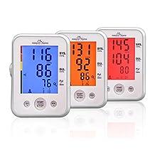 Easy@Home Digital Upper Arm Blood Pressure Monitor (BP Monitor) with 3-Color Hypertension Alert Backlit display and Pulse Meter, EBP-095
