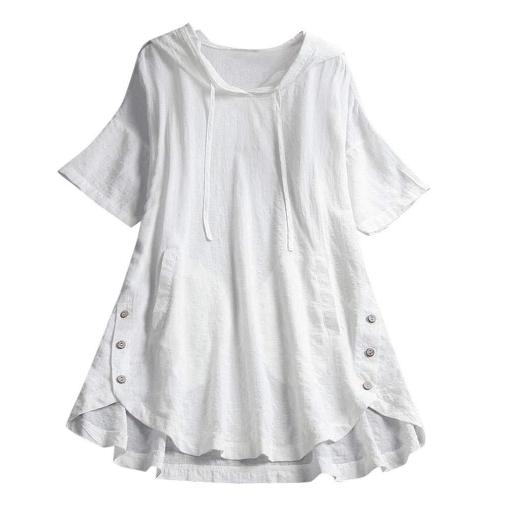 Farmerl Plus Size Women Cotton Linen Button Top Kaftan Baggy Casual Tunic Blouse White by Farmerl
