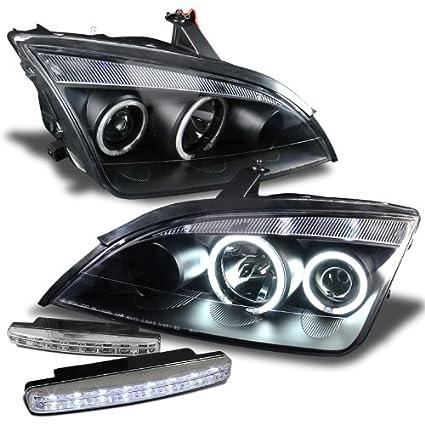 amazon com: ford focus zx4 05-07 projector headlights 4dr halo black clear  ccfl + 8 led fog bumper light: automotive