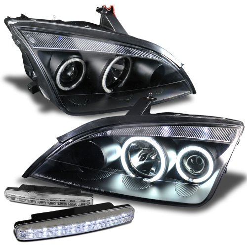 Ford Focus 4dr Sedan (Ford Focus Zx4 05-07 Projector Headlights 4Dr Halo Black Clear Ccfl + 8 Led Fog Bumper Light)