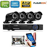 FLOUREON House Camera 8CH 1080N AHD CCTV DVR House Security System + 4 X 2000TVL 960P HD Bullet Indoor/Outdoor Camera Surveillance Security for Home/Apartment/Office/Factory/Store (8CH+2000TVL bullet)