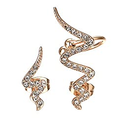 Snake Shape Zircon Earring With Crystals In Gold Color