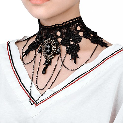 FASHEWELRY Choker Black Lace Necklace Gothic Tattoo Tassel Pendant Vintage Punk Style Wedding Accessories for Halloween and Christmas Parties Dress Up & Pretend Play -