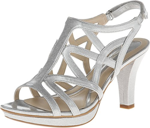 Naturalizer Women's Danya Soft Silver Crosshatch Shiny 6.5 AA US N (AA)