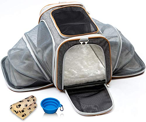 Cat Carrier Dog Carrier Pet Carrier for Cats – Cat Carriers for Medium Cats – Dog Carriers for Small Dogs – Small Dog Carrier – Airline Approved Pet Carrier – Soft Expandable Kennel Crate for Pets