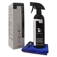 Natural Screen Cleaner 500ml with Fine Microfiber Towel for Cleaning: LCD, LED, TFT, HD TV's, Plasma, Laptops, Touchscreen, Smartphones, TV Screens, Tablets, E-Readers Plus Keyboard Cleaning Brush