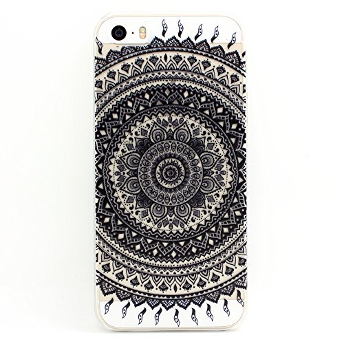 iPhone 5s case, JAHOLAN Henna Series Black Floral Mandala Garland Transparent Hard Plastic Case Cover for iphone 5 5S