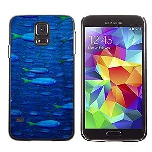 Qstar Arte & diseño plástico duro Fundas Cover Cubre Hard Case Cover para SAMSUNG Galaxy S5 V / i9600 / SM-G900F / SM-G900M / SM-G900A / SM-G900T / SM-G900W8 ( Fish Ocean Blue Sea Wildlife Swim Art Painting)
